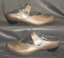 Kumfs metallic brown leather closed toe mary jane mules Women's EUR 38 1/2 W