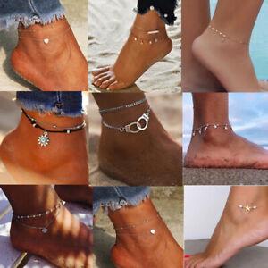 Boho Ankle Bracelet Multi Layer Anklet Anklets Adjustable Charm Chain Foot Beach