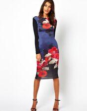 ASOS Pretty Rose Print Bodycon Dress
