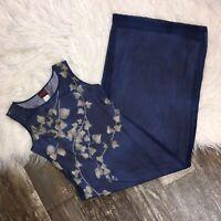 KENZO PARIS Womens Maxi Dress 38 US 6 Blue Leaf Print Sleeveless Mesh Lined