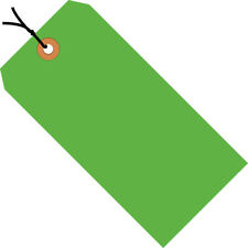 """Box Partners Shipping Tags Pre-Strung 13 Pt. 4 3/4"""" x 2 3/8"""" Fluorescent Green"""