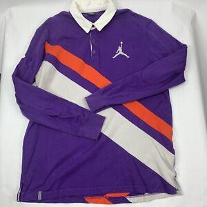 Michael Jordan Purple Polo Mens 2XL Long Sleeve W/Elbow Patch