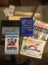 Jewish/Judaica/Israeli items: books, Lenox China dish, knife, stamps