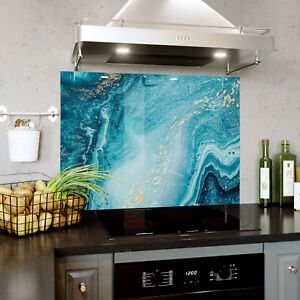 Glass Splashback Kitchen Tile Cooker Panel ANY SIZE Abstract Ocean Marble 0370