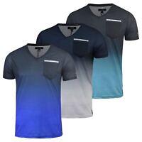 Mens Firetrap T-Shirt Taverham  Short Sleeve Vee Neck Cotton Print Tee Top