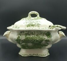 More details for mason's patent ironstone 'fruit basket' green soup tureen with ladle -good