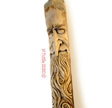 ORIGINAL WOOD SPIRIT CARVING WIZARD WALKING STAFF STICK RECYCLED X NANCY TUTTLE