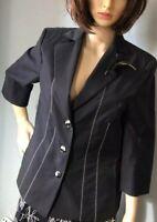 Delmod Womens Single Breasted Tailored Jacket UK Size 12 EU 38 Black Exc Con