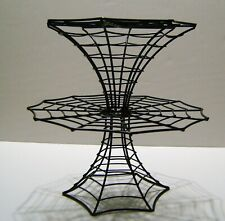 Halloween 2 Tier Black Wire Double Spider Web 2 Level Cake Stand Cupcake Display