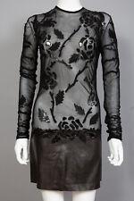 Jitrois Black Lambskin Leather Tulle Mesh Applique Dress Sz 36 US 4 - 6