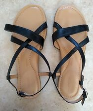 ROCKPORT Ladies Walkability Sandals. UK 6. Black leather. Flat, open toe, strap.