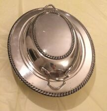 CRESCENT SILVER MFG. CO. S.P.N.S. OVAL COVERED SERVING DISH WITH HANDLED LID