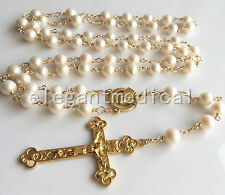 GOLD AAA White Pearl Beads 5 DECADE Rosary Wire Wrapped Bead NECKLACE Crucifix