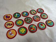 "15 Vintage Girl Scout Round Progressive Proficiency Badges, Red Border  1-1/2"""