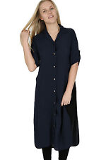 405415d8c7 Ladies Plus Sizes Midi Shirt Split Side Collar Party Abaya Maxi Dress S -  XXXXL Navy