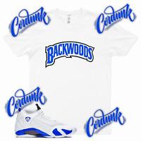 White BACKWOODS Sneaker T Shirt to match Jordan 14 Hyper Game Royal 1 3