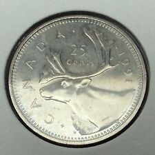 1991 Canada 25 Cents Quarter Uncirculated Canadian Coin Not In Case B970