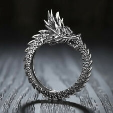 Stunning Open Ring Silver/Black/Copper Dragon Vintage Jewelry Gift Adjustable