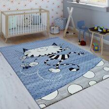 Tappeto per bambini, gatto giocoso, grigio e blu