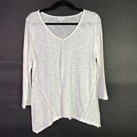 J Jill Sz M Top Linen Cotton Blend White 3/4 Sleeve Crochet Detail Asymmetrical