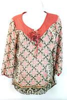 Dressbarn Women's Blouse Top 3/4 Sleeve Polyester Multi-Color Size Medium