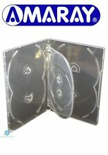 100 x 6 Way Clear DVD 15mm Spine Holds 6 Discs Empty New Replacement Case Amaray