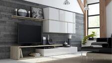 Wohnwand GOYA Anbauwand Wohnzimmer Möbel - sonoma eiche + weiß + weiß hochg