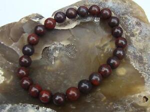 Natural Gemstone Men's Women's Elasticated Beaded Bracelet 8mm RED JASPER beads