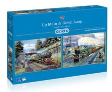 Gibsons - 2 X 500 PIECE JIGSAW PUZZLES - Up Main & Down Loop Steam Trains