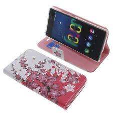 Custodia per Wiko Fever 4G Book-Style Protettiva Cellulare a Libro Lilla Fiorire