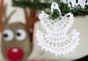 6 x ANGELS WHITE CHRISTMAS TREE DECORATION CHROCHET VINTAGE