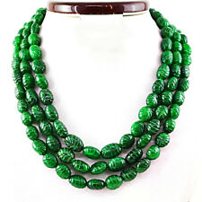 Green Emerald 1075.00 Cts Earth Mined Oval Shape Carved Beads Necklace NK 36MI3