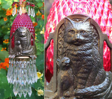 Cat Swag Lamp Chandelier brass tole Ruby glass Beaded crystal Art Deco Era insp.