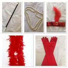 1920s Flapper Headband Cigarette Holder Feather Boa Gloves Necklace Gatsby Set