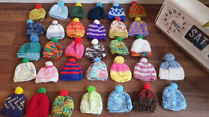 6 Hand Knitted Egg Cosies Bobble Hats