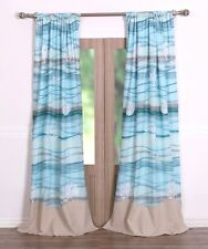 MAUI BLUE WINDOW PANELS : SEA SHELL STARFISH CORAL BEACH HOUSE CURTAIN DRAPES