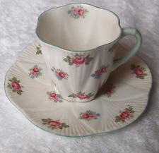 Shelley England china Rosebud demitasse cup & saucer set~Dainty shape-NR