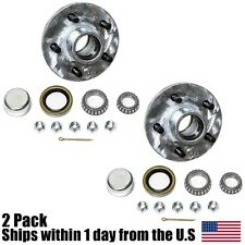 "(2) Boat Trailer Galvanized Idler Hub 5 on 4.5"" 5-4.5"" 3500lb 1 1/16"" Axle Kit"
