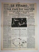 N1171 La Une Du Journal Le Figaro 30 septembre 1938 la paix est sauvée Munich