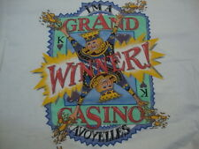 "Vintage ""I'm A Grand Winner Casino Avoyelles"" Cartoon Jackpot White T Shirt XL"
