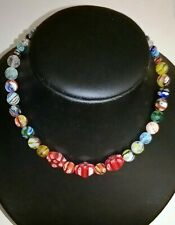Millefiori Glass Bead Chunky Choker Necklace in three sizes with lobster clasp