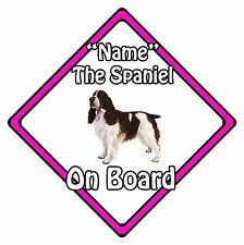Personalised Dog On Board Car Safety Sign - Springer Spaniel On Board Pink