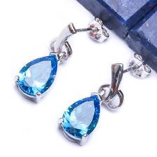 """ELEGANT BLUE TOPAZ  .925 Sterling Silver Earring .75"""""""