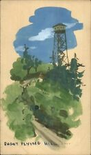 Cape Cod Shoot Flying Hill Observation Tower Handmade Hand Colored Postal Card