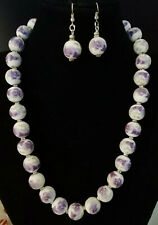 Vintage lilac and white floral porcelain with rhinestones necklace and earrings