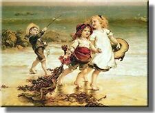 Kids Playing Sea Horses Ocean Picture on Stretched Canvas, Wall Art Decor, Ready