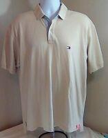 Tommy Hilfiger Men's Polo Golf Shirt Beige Tan 100% Cotton Large Box Tag Logo FS