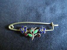 ancienne broche bijoux en laiton émaillé début XX ème