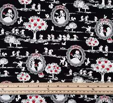 Kokka Japanese Fabric - Snow White and Friends - Black - 100% Oxford Cotton
