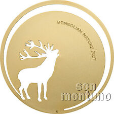 2017 Mongolian Nature - ROARING DEER - 1/2 Half Oz Silver Coin 24K Gold Gilded